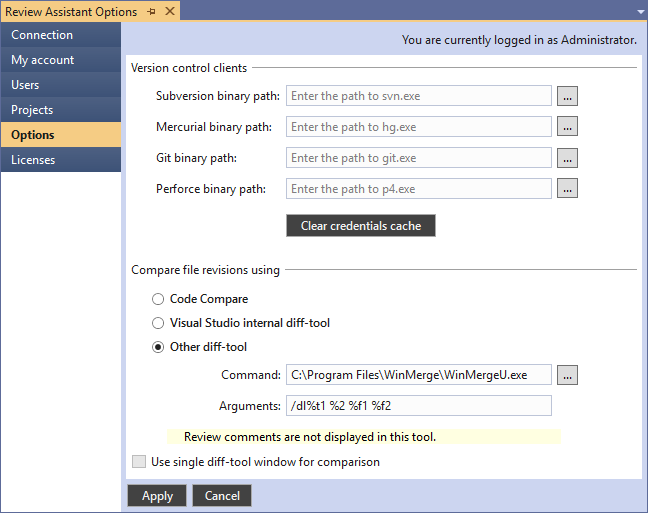 Setting Up Integration with File Diff Tool