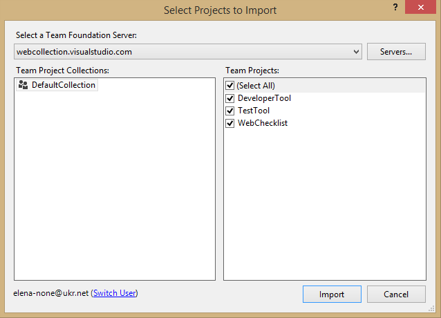 Importing Projects from TFS