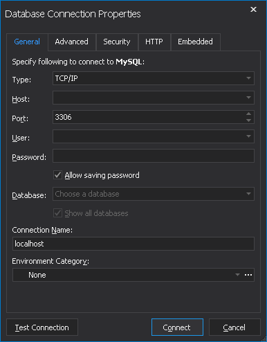 Database Connection Properties dialog box