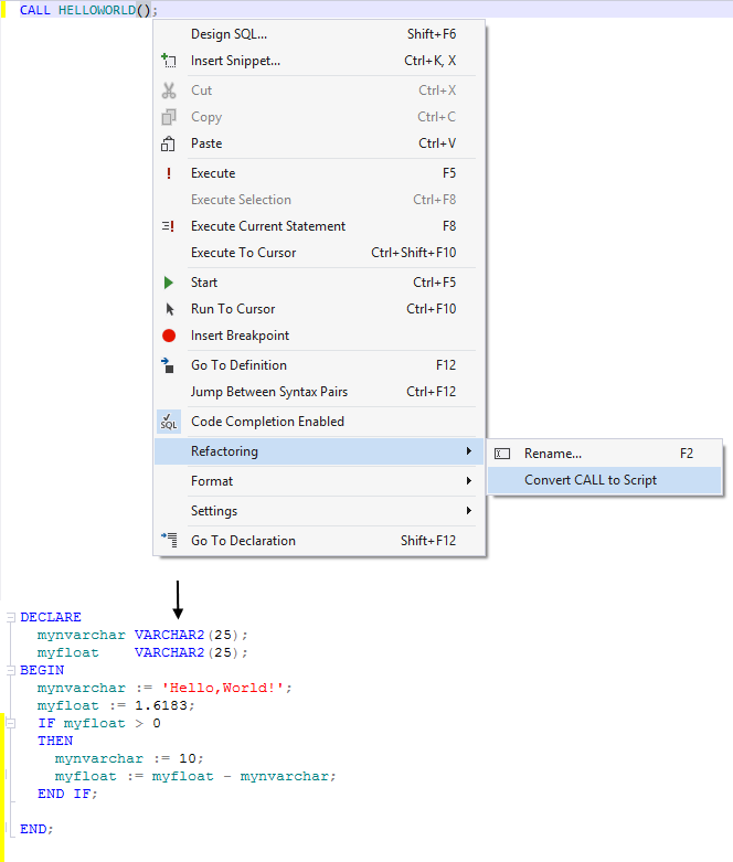 how to execute stored procedure in oracle